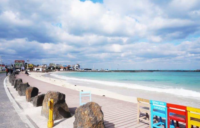 La plage woljeongri île de Jeju Corée du Sud