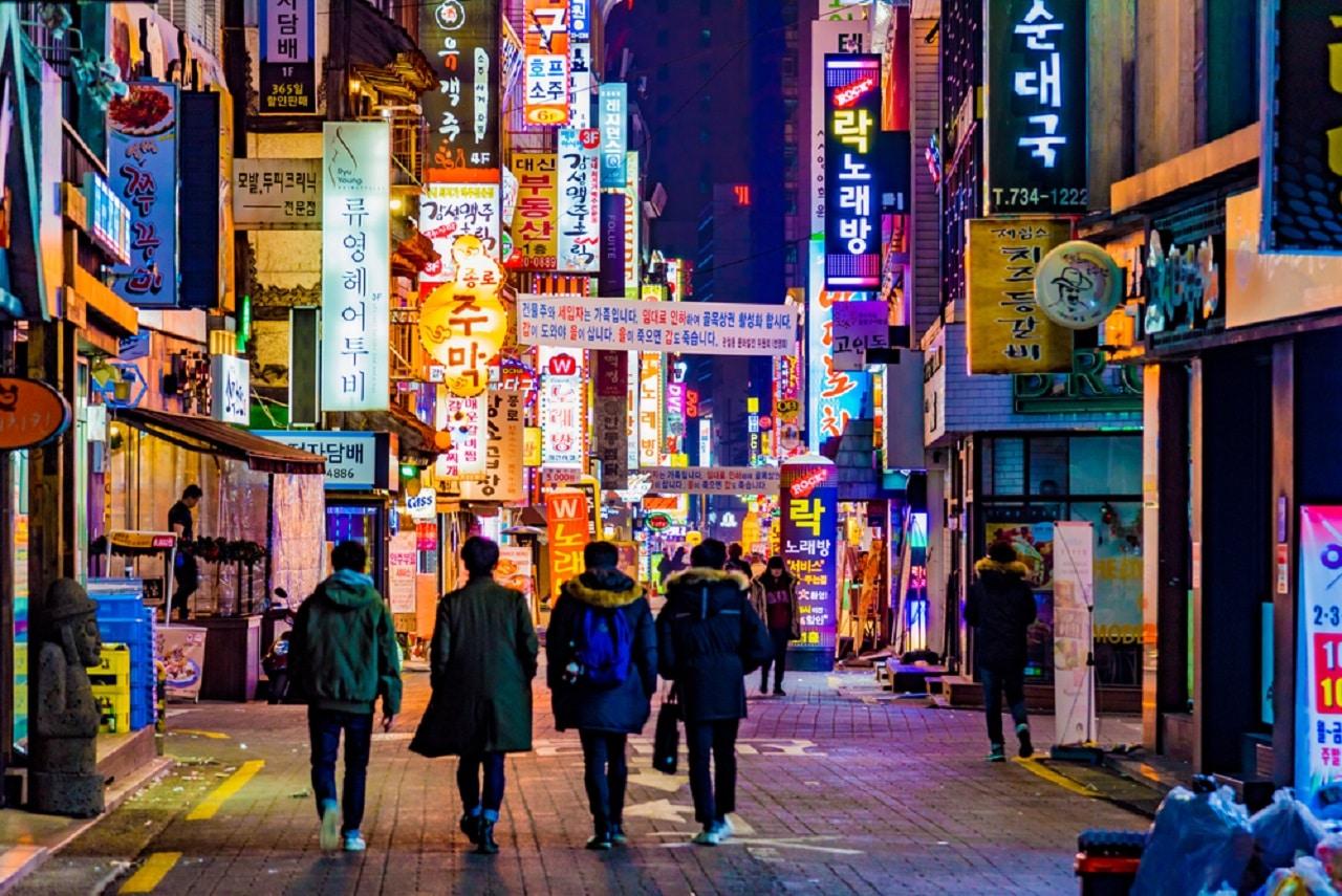 Rue de Séoul la nuit Corée du Sud