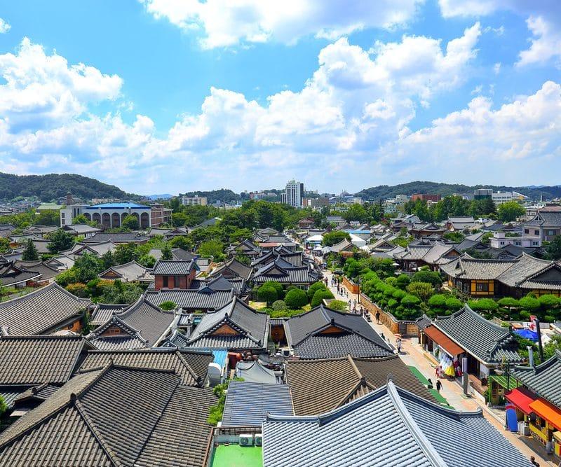 Toits maisons traditionnelles coréennes Corée du Sud